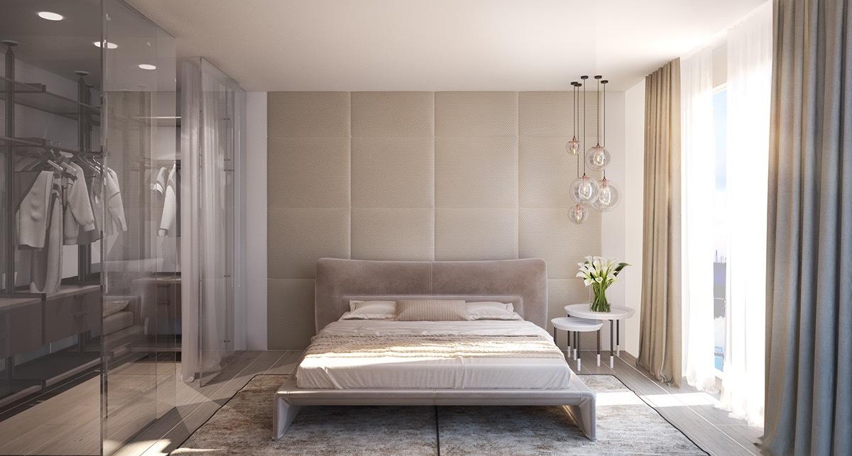 Deko Ideen Schlafzimmer: Mischung zwischen Stoff und Glas in hellen Farben