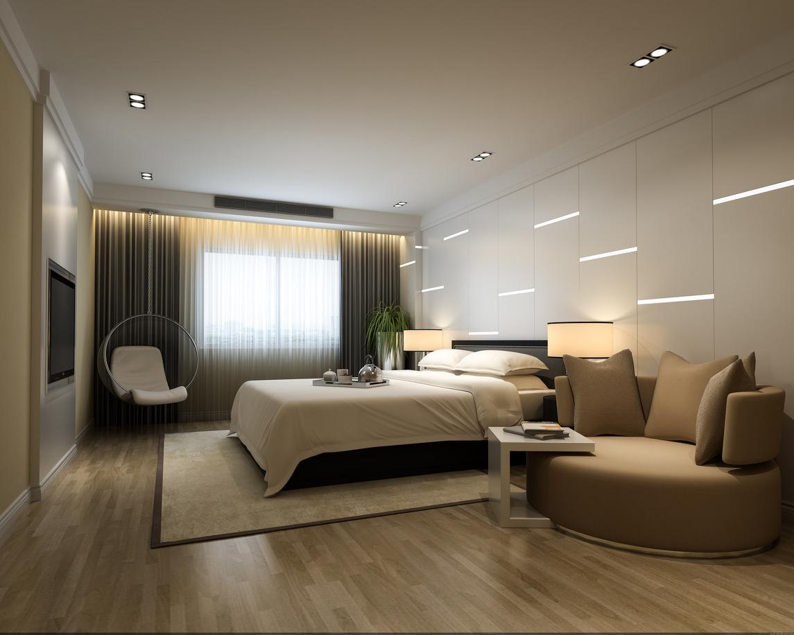Moderne Schlafzimmer Deko in hellen Farben und mit weißen Platten