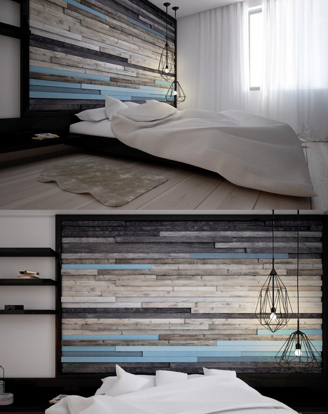 Schlafzimmer Deko: Wänden aus rauem Holz