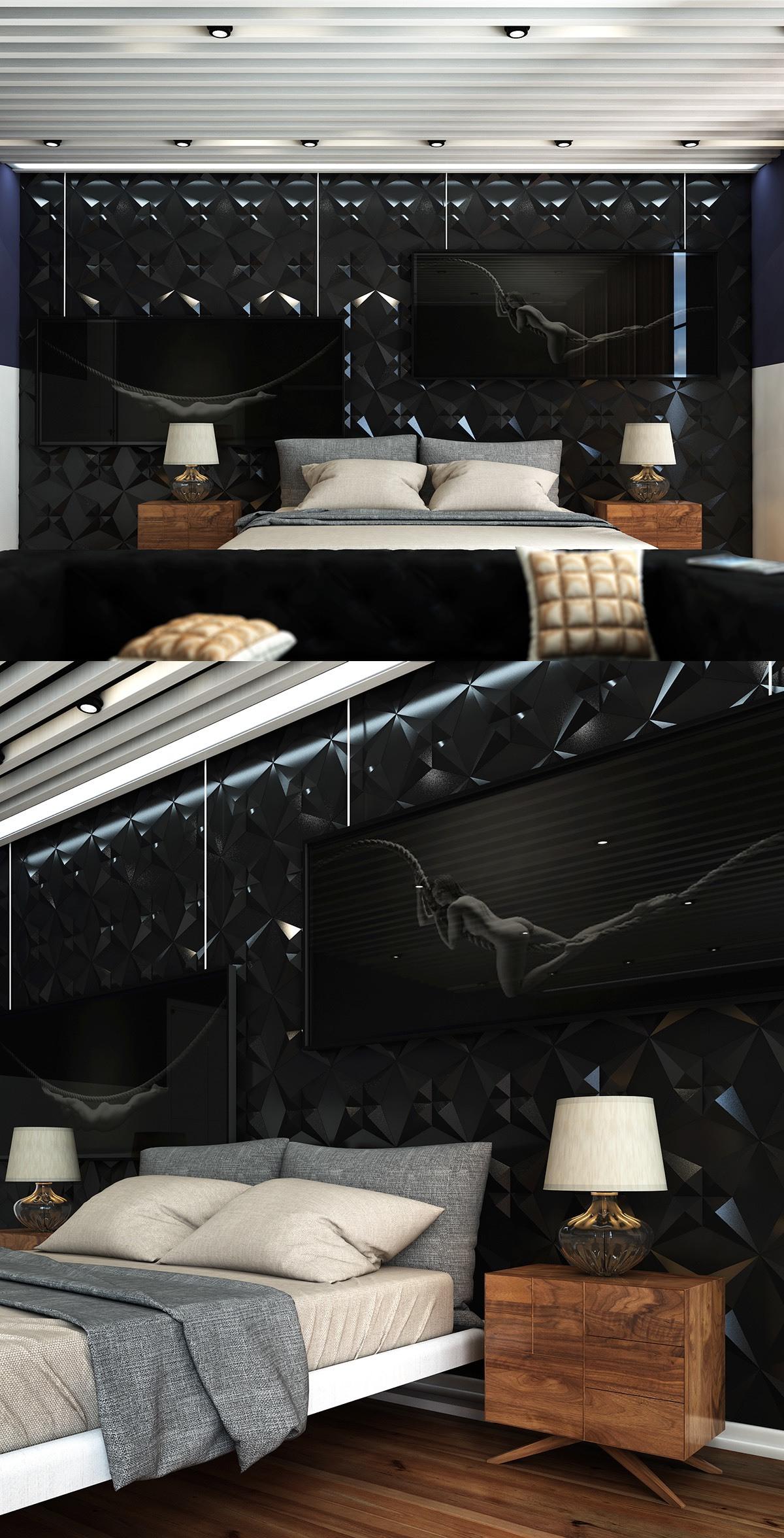 Deko Ideen Schlafzimmer für Männer in Schwarz