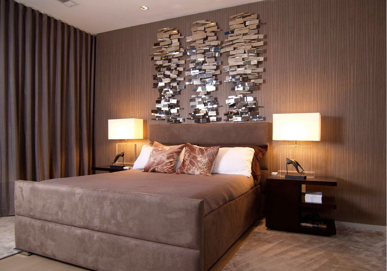 Wanddeko Schlafzimmer mit Spiegel Elemente