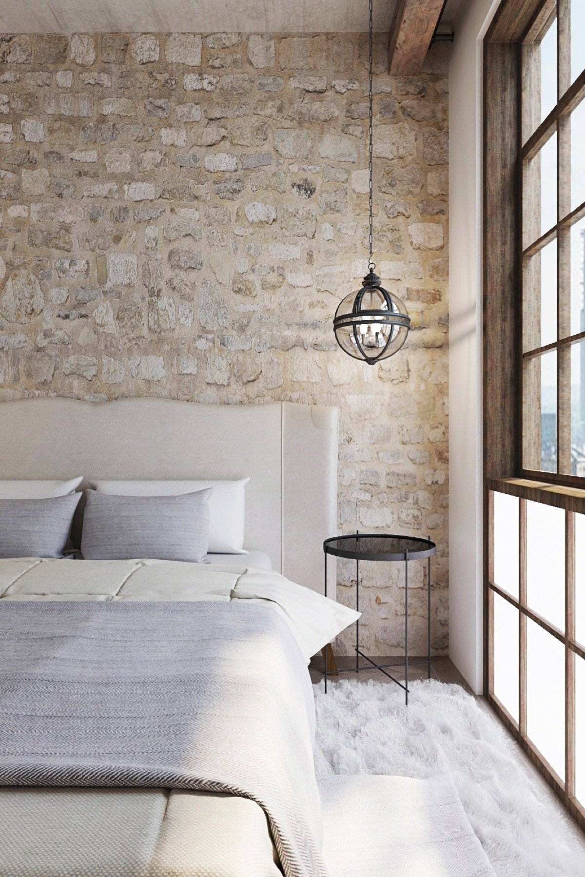 Stein und Holz ist eine interessante Entscheidung für Ihre Wanddeko Schlafzimmer