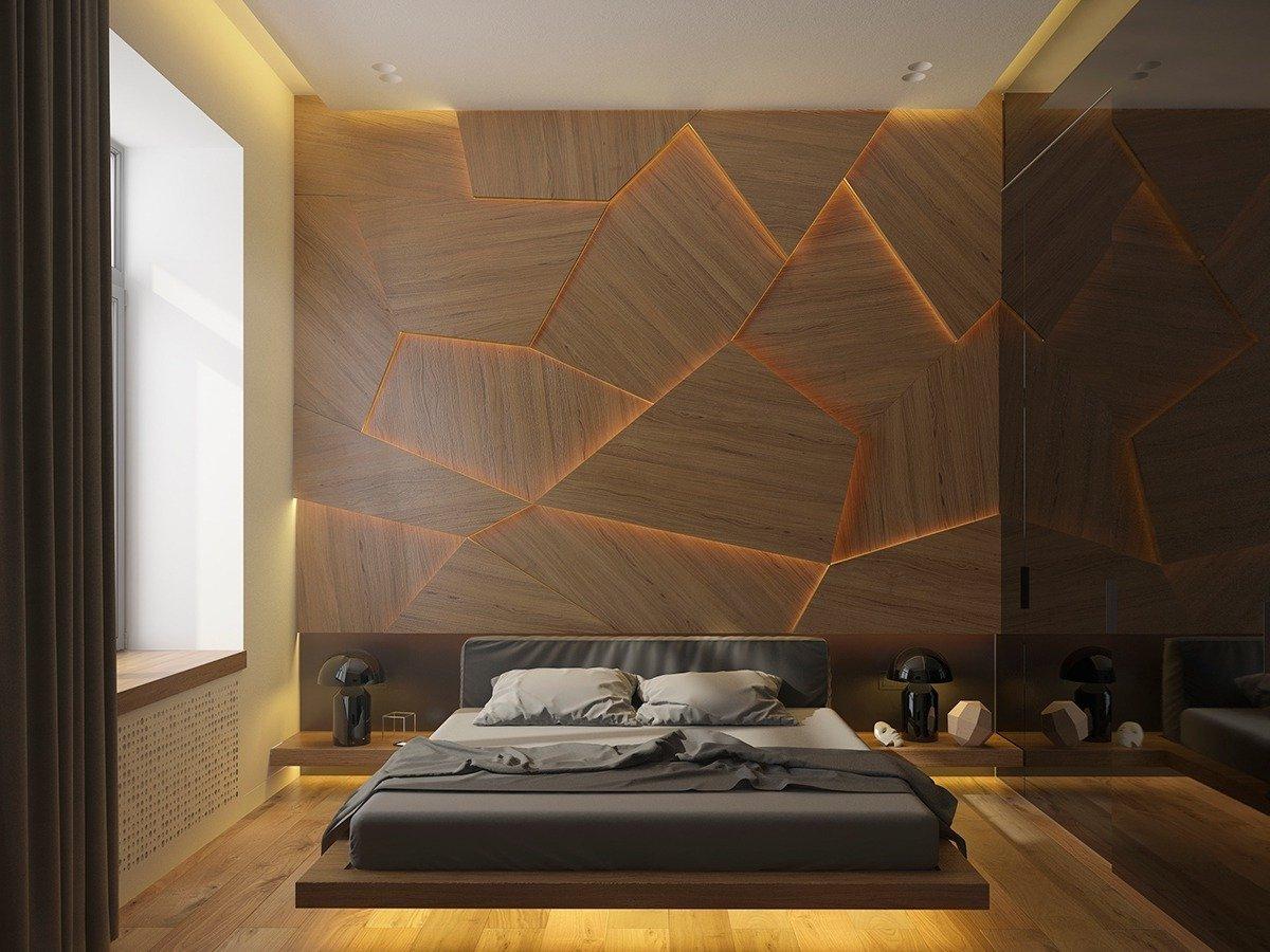 Einzigartigen Look für das Schlafzimmer Deko mit Holzpaneele und Led- Beleuchtung