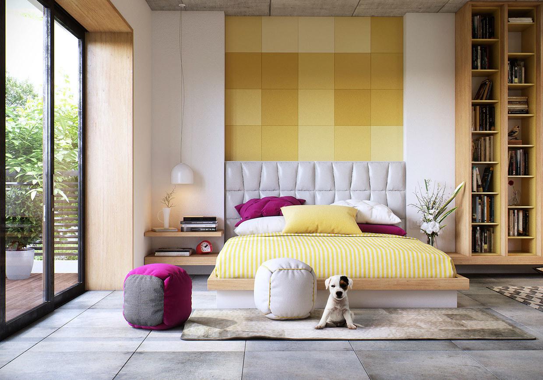 Fenstertüren und helle Farben macht das Schlafzimmer weit und geräumig