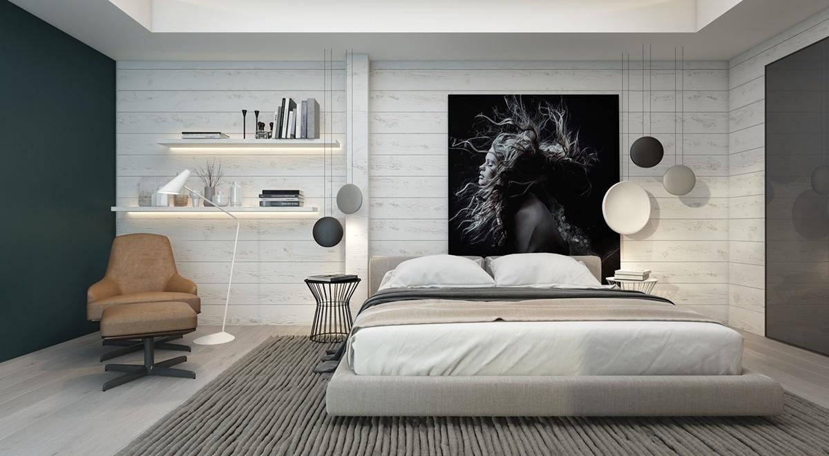 Inspirationen in Weiß und Grau für Ihr Wanddeko Schlafzimmer