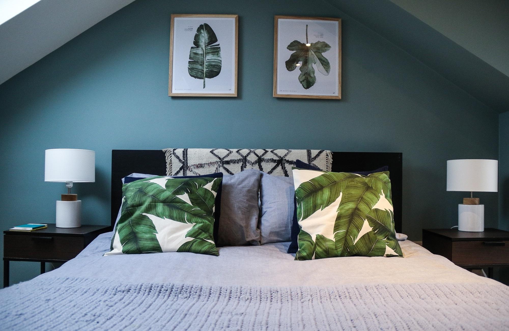 Grün ist eine Farbe der Gelassenheit und eignet sich gut zum Wanddeko Schalffzimmer