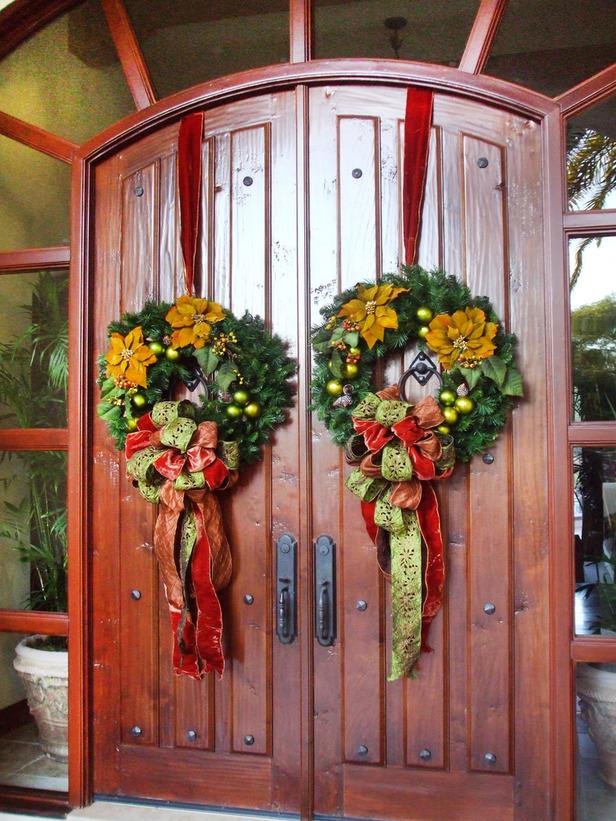 Weihnachtskranz originell Eingangstür