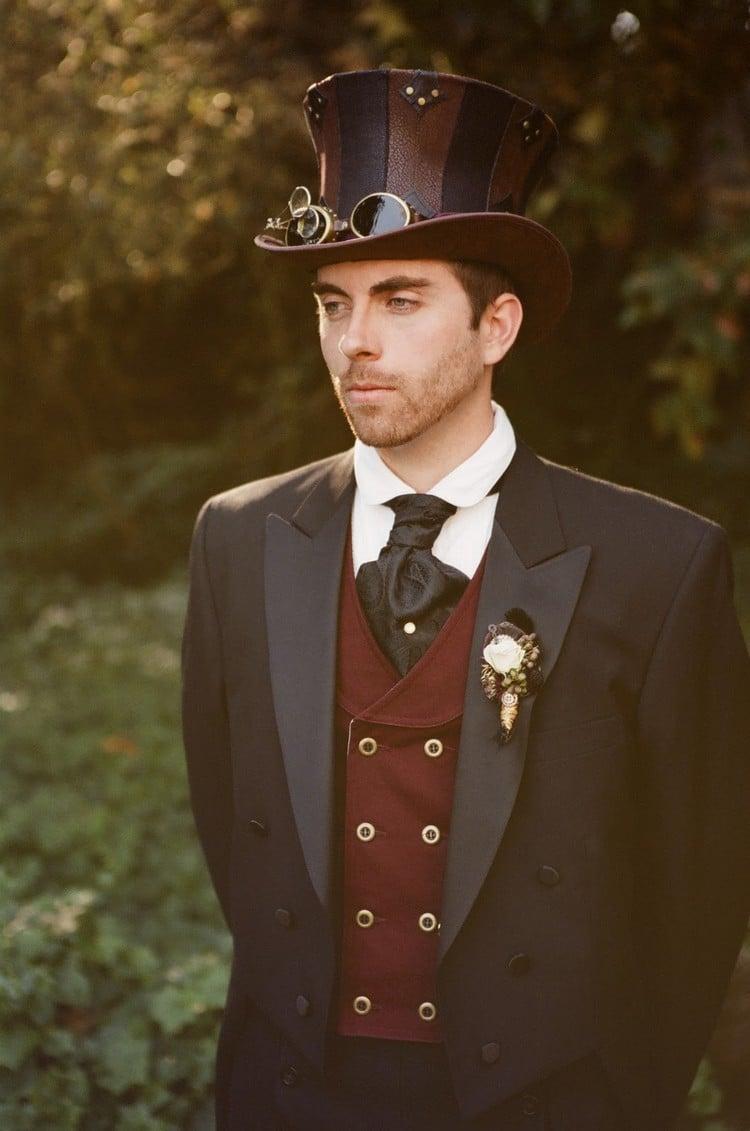 Steampunk Kleidung Mann Anzug Weste Zylinder