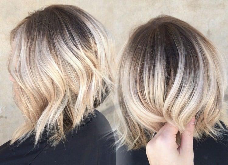 Balayage kurze Haare Spitzen wellig