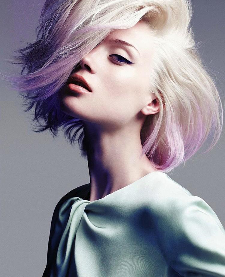 Balayage kurze Haare modern weißblond pastellrosa