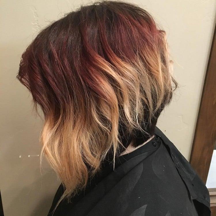 Balayage kurze Haare rot blond originell