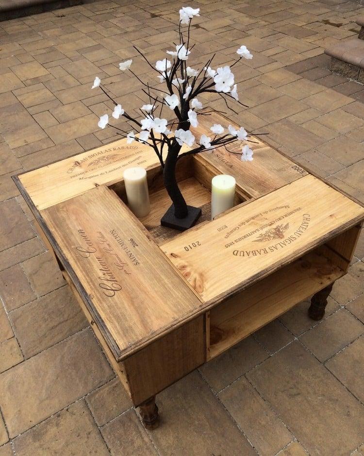 Tisch aus Weinkisten Couchtisch mit Ablagefläche