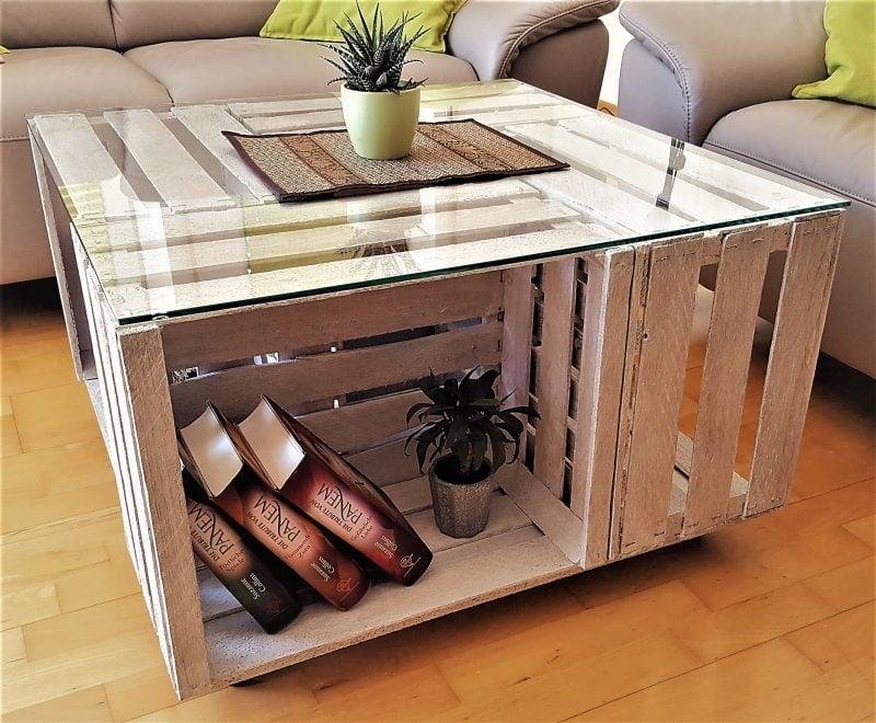 Tisch aus Weinkisten Couchtisch Glasplatte Ablagefläche