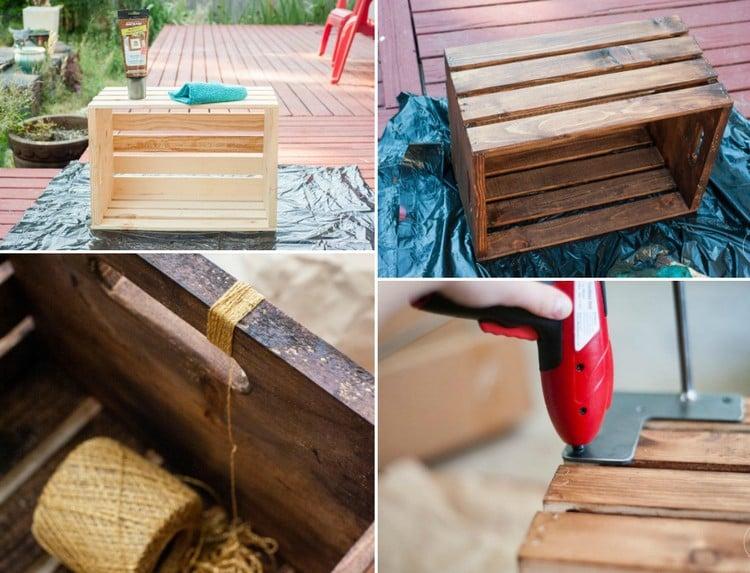 Tisch aus Weinkisten selber bauen Materialien Anleitung