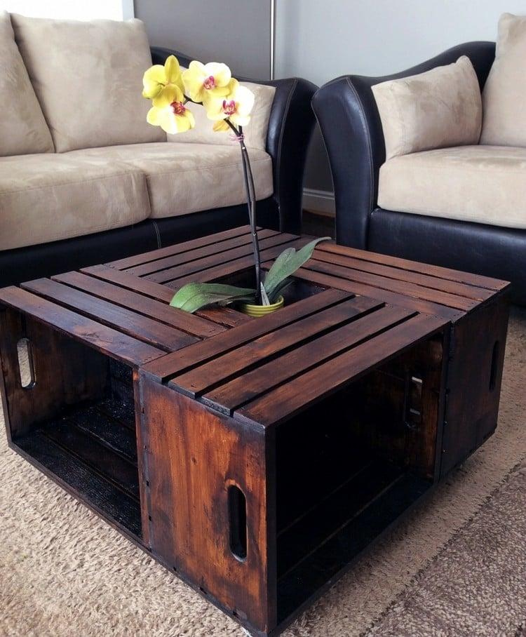 Tisch aus Weinkisten Couchtisch Ablagefläche Orchidee