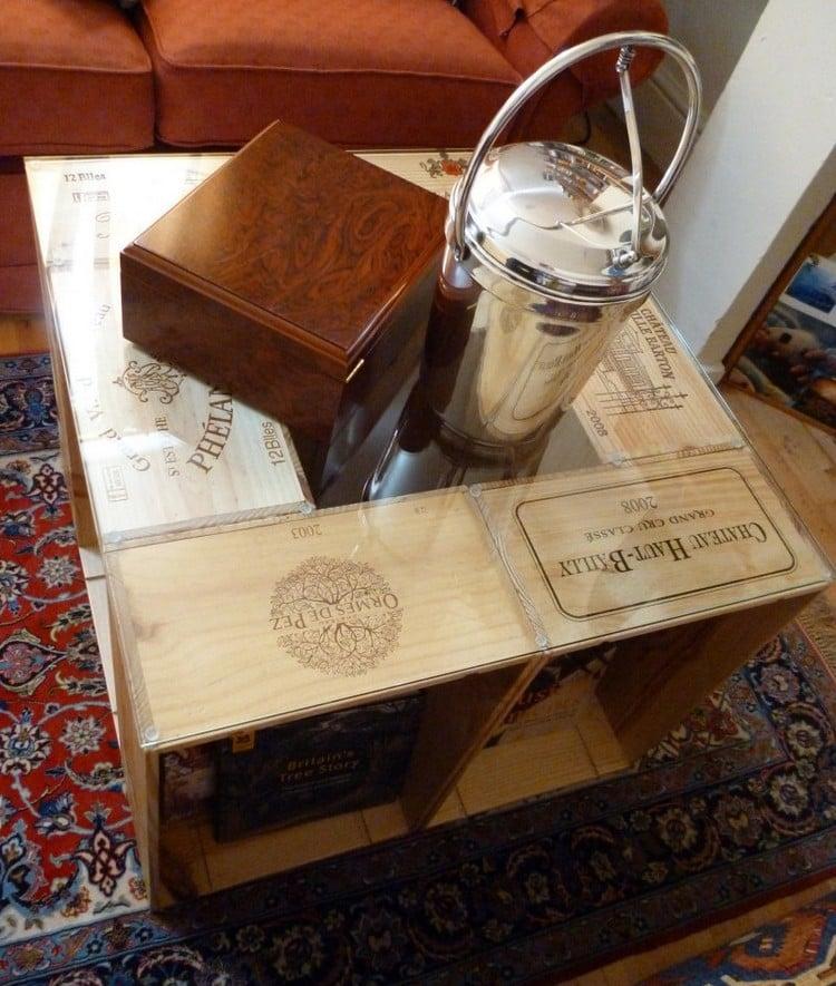 Tisch aus Weinkisten Couchtisch quadratisch