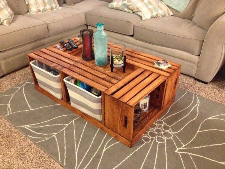 Tisch aus Weinkisten Couchtisch groß Ablagefläche