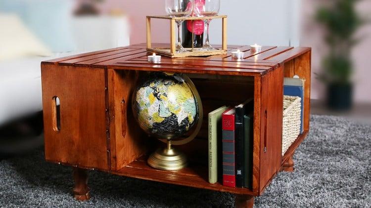 Tisch aus Weinkisten Couchtisch bauen stilvoll