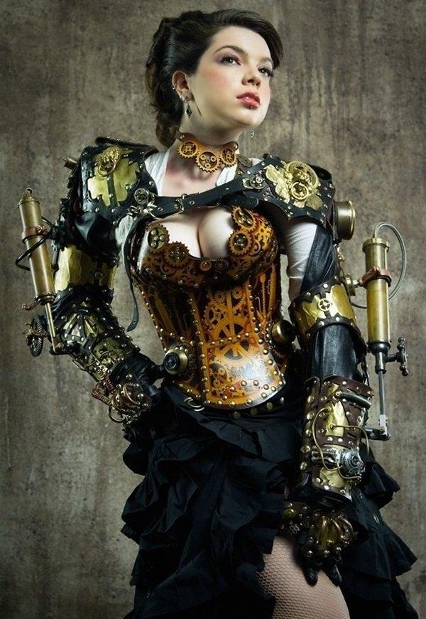 Steampunk Kleidung Frau Coursage Zahnräder
