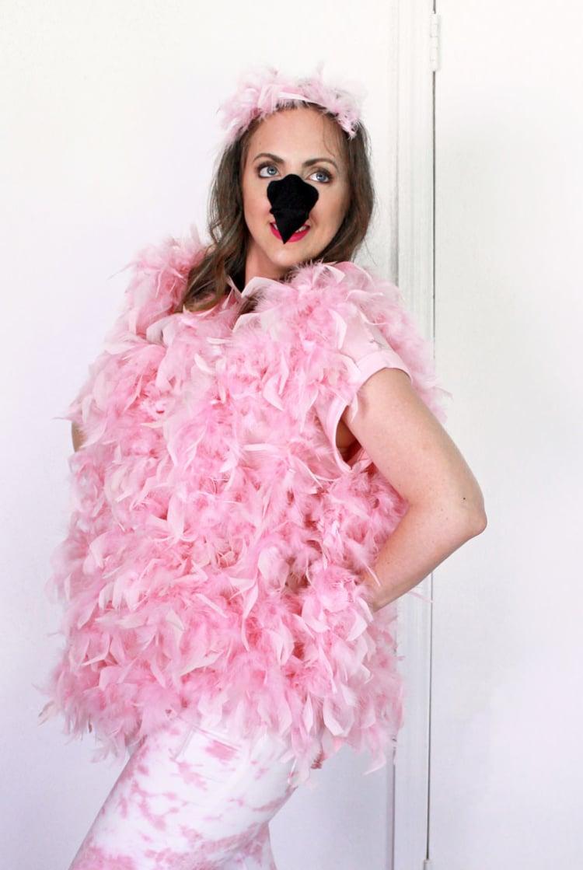 Flamingo Kostüm rosa Federboa Frau