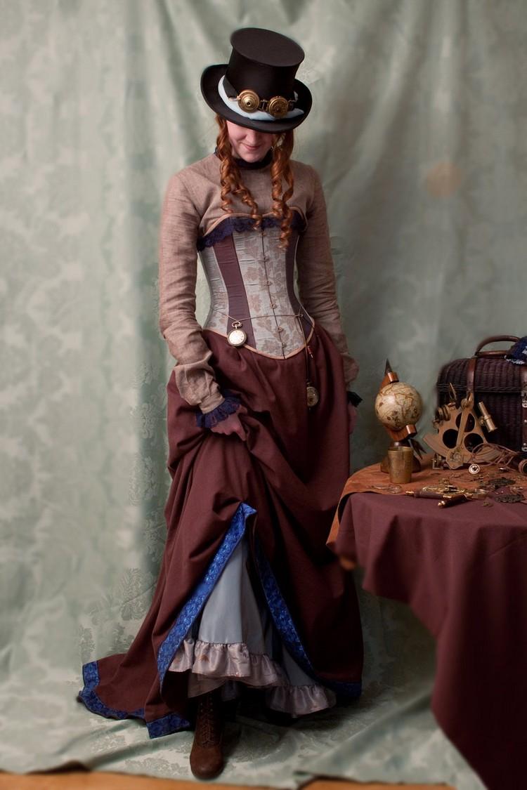 Steampunk Kleidung Frau prachtvolles Kleid Taschenuhr Schweißbrillen