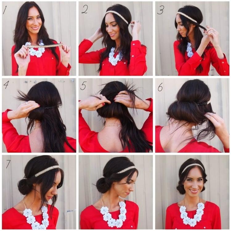 Frisur mit Haarband eingedreht langes Haar Bilderanleitung
