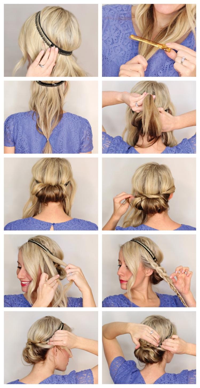 Frisur mit Haarband Anleitung in Bildern