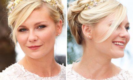 Frisur mit Haarband golden Blumen kuzes Haar