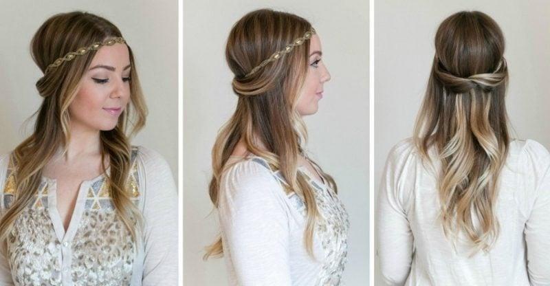 Frisur mit Haarband halboffen elegant