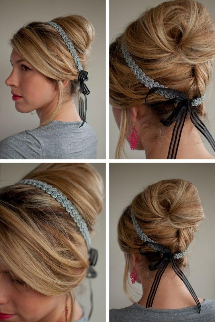 Frisur mit Haarband stilvoller Dutt Retro Look