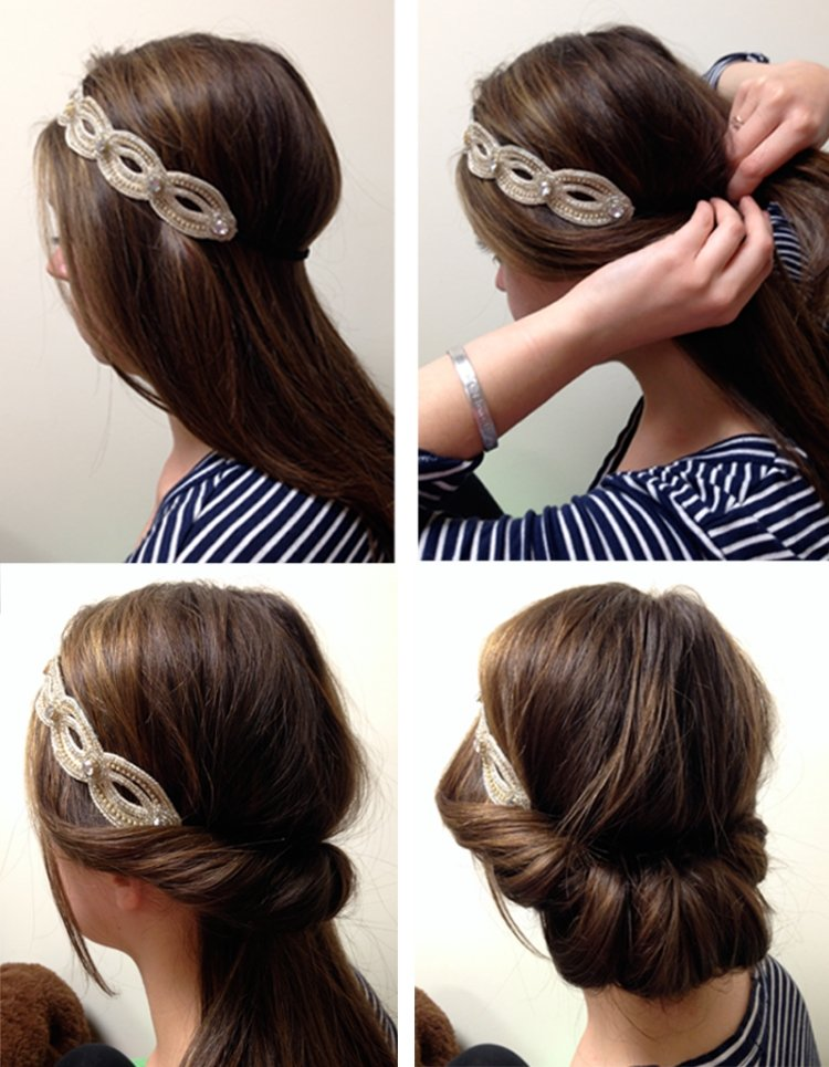 Frisur mit Haarband eingedreht Idee für langes Haar