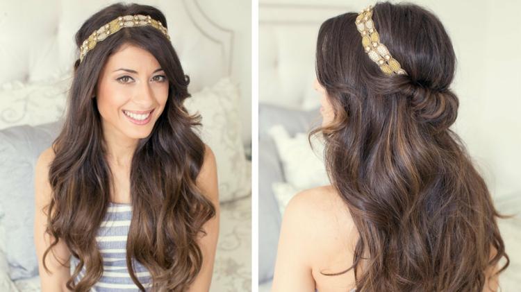 Frisur mit Haarband halboffen lockiges Haar