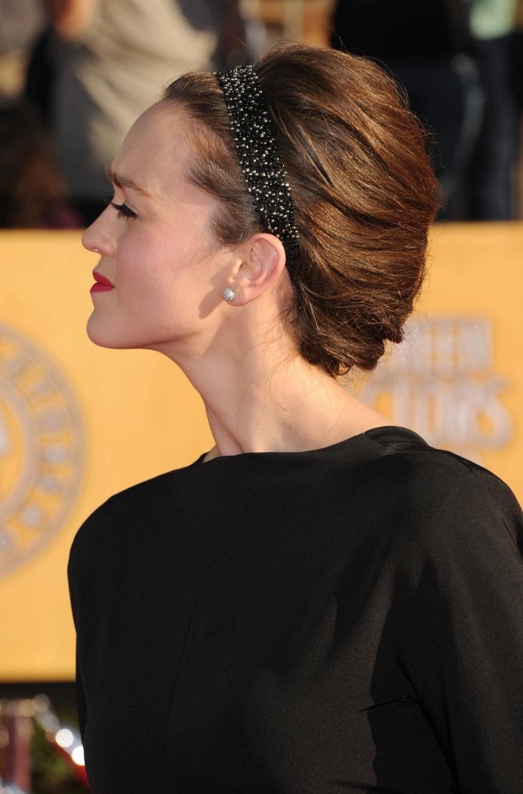 Frisur mit Haarband schwarz Strasssteine