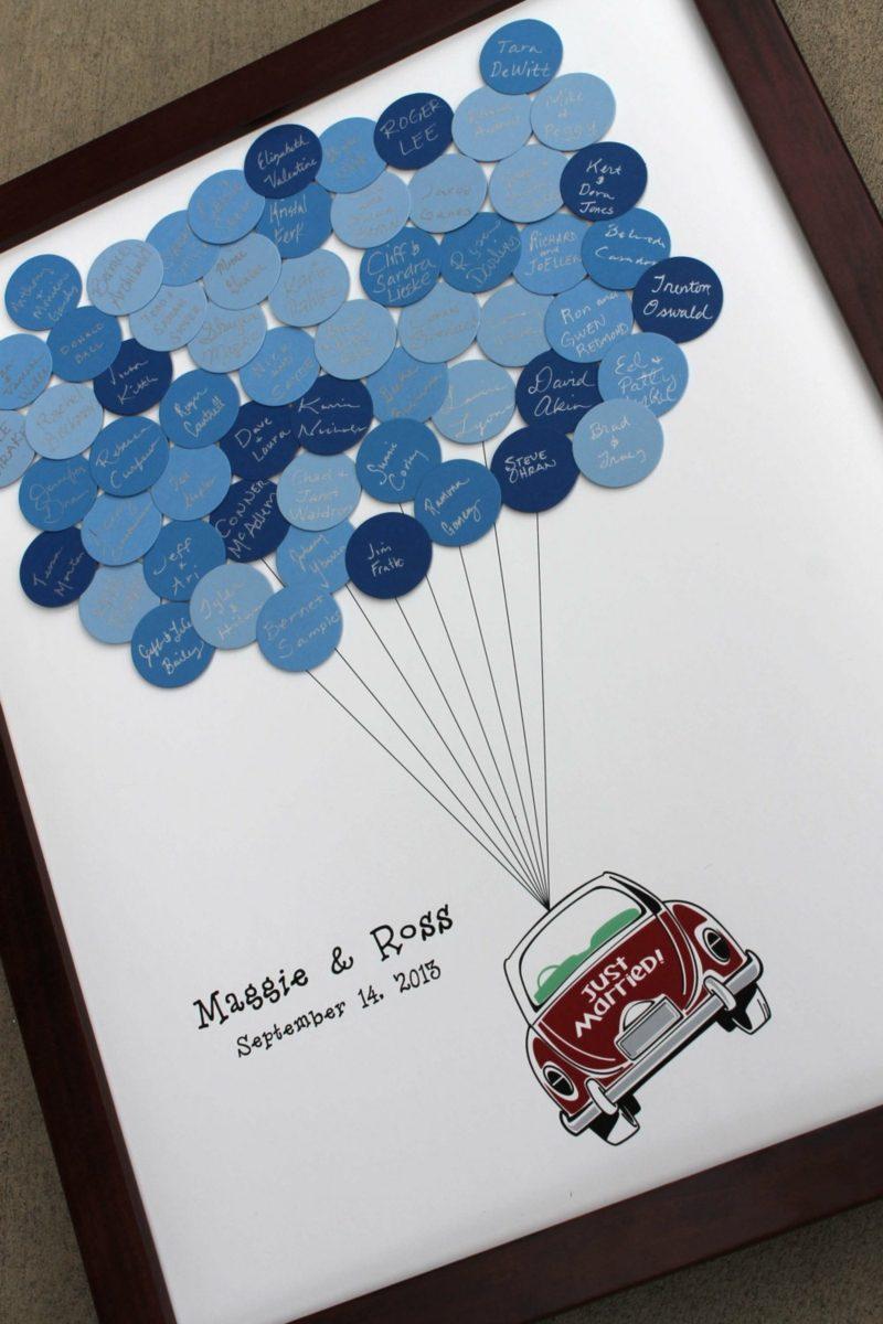 Gästebuch Hochzeit gestalten Auto Ballons