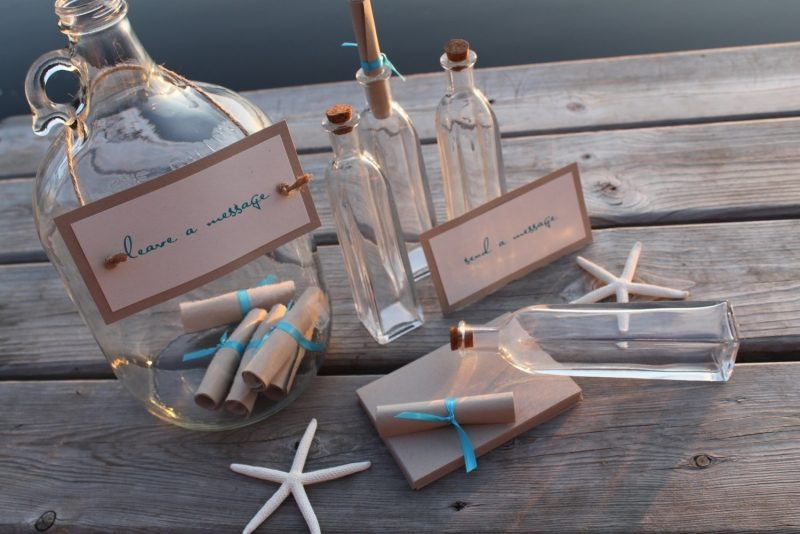 Gästebuch Hochzeit gestalten Botschaften in Flasche