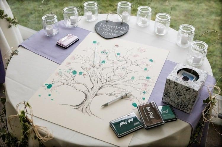 Gästebuch Hochzeit gestalten Baum mit Fingerabdrücken
