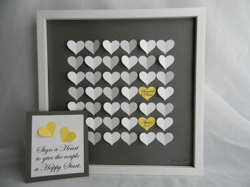 Gästebuch Hochzeit gestalten Bild kleine Herzen