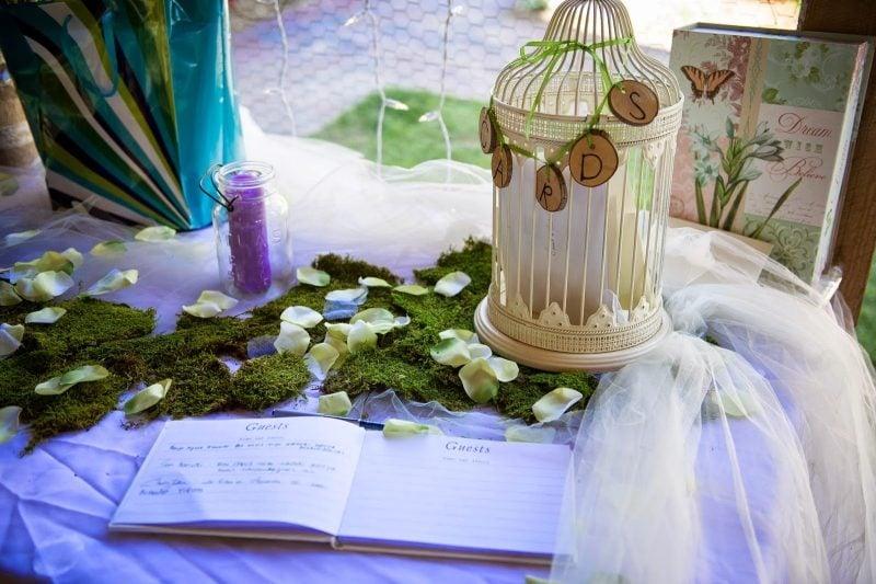 Gästebuch Hochzeit gestalten klassisch Käfig Karten