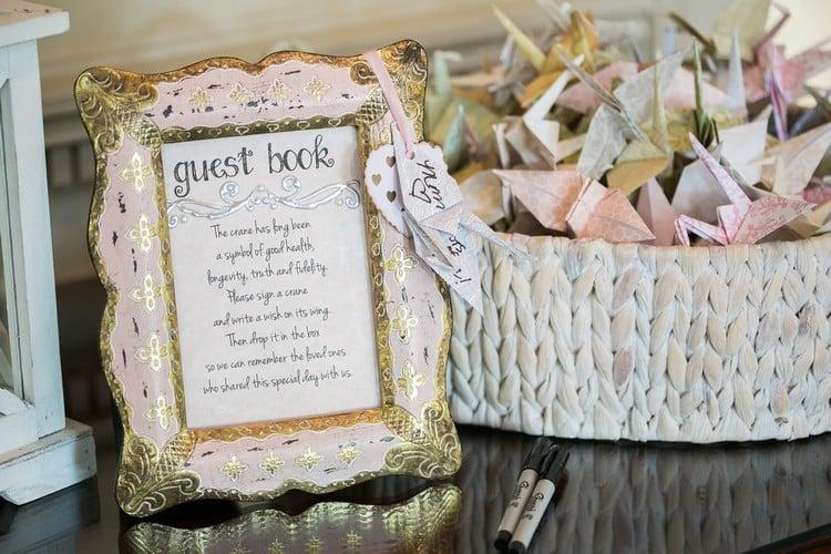 Gästebuch Hochzeit gestalten Origami falten Kraniche