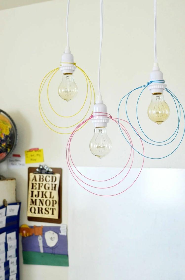 Lampe Glühbirne dekorieren mit Draht