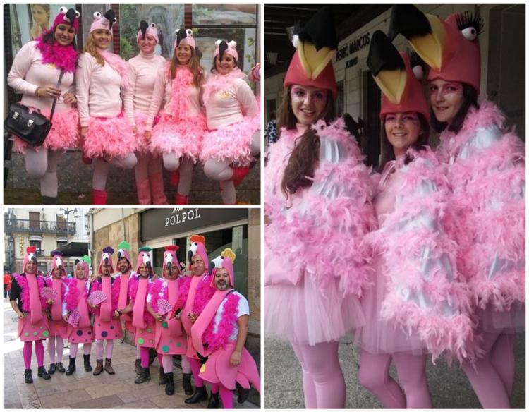 Flamingo Kostüm Gruppe Freunden