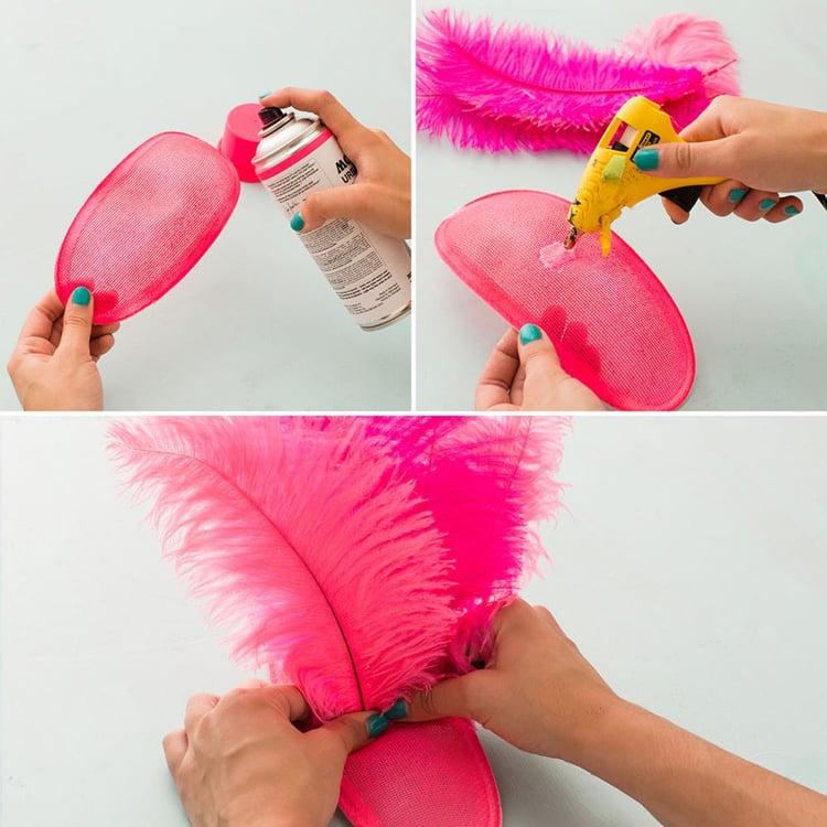 Flamingo Kostüm basteln Kopfschmuck mit Federn