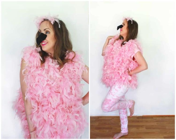 Flamingo Kostüm selbst gemacht Frau Schnabel Filz