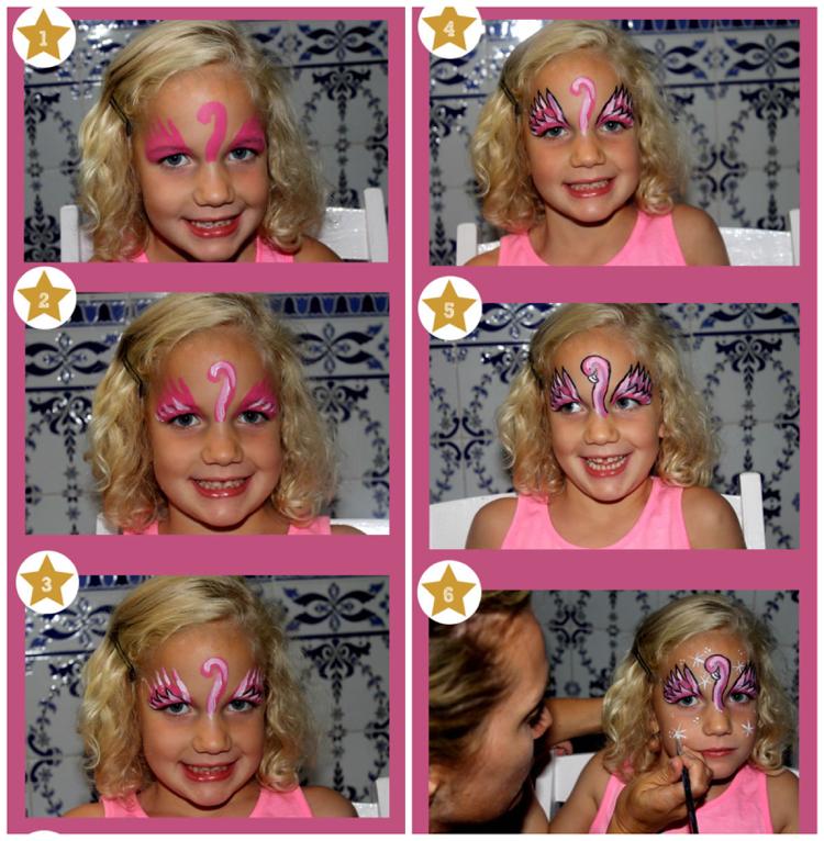 Flamingo Kostüm Kinder Schminkanleitung