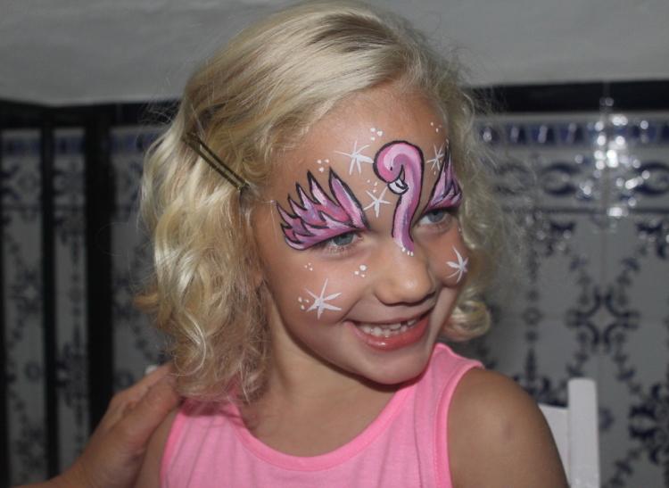 Flamingo Kostüm Kind Gesicht bemalen