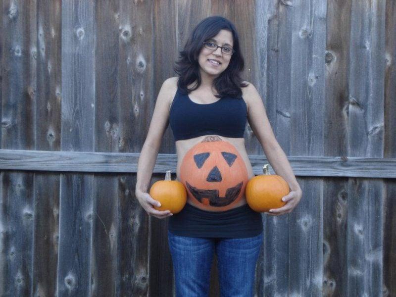 Kostüm für Schwangere Halloween Kürbis