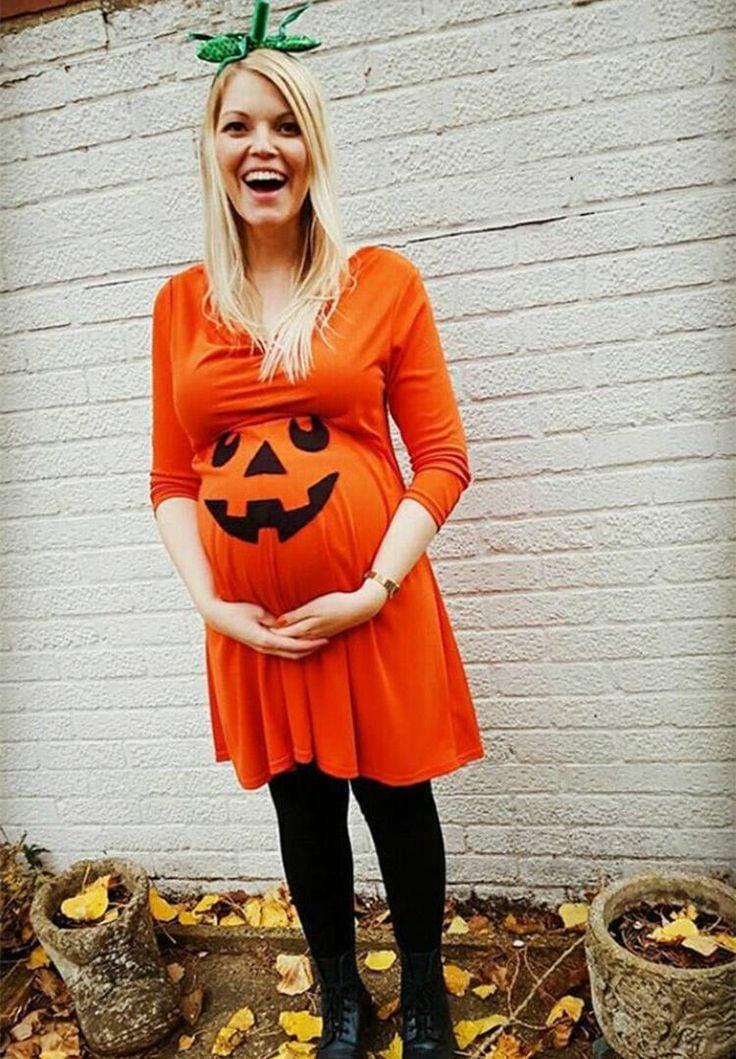 Kostüm für Schwangere Kürbis orangefarbene Tunika