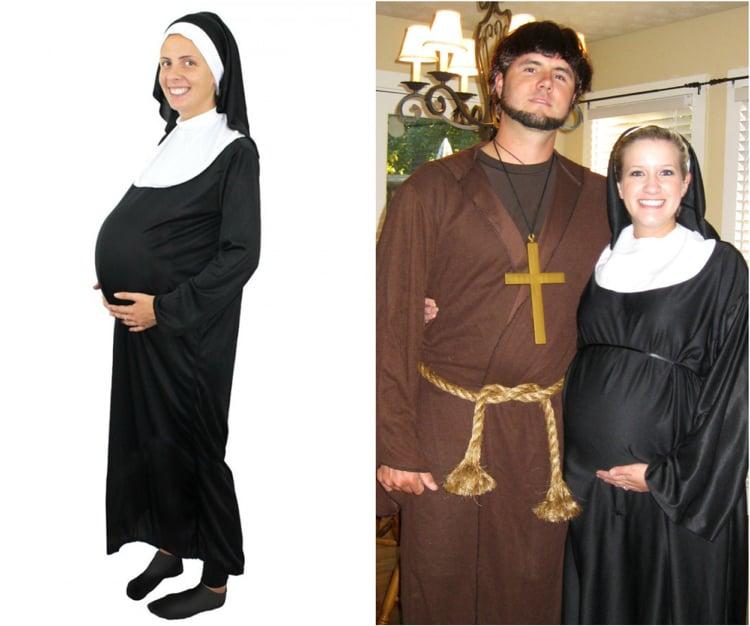 Kostüm für Schwangere Nonne Priest
