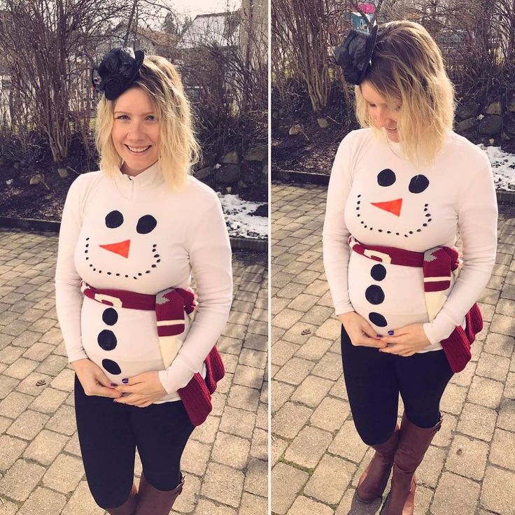 Kostüm für Schwangere Schneemann Karneval