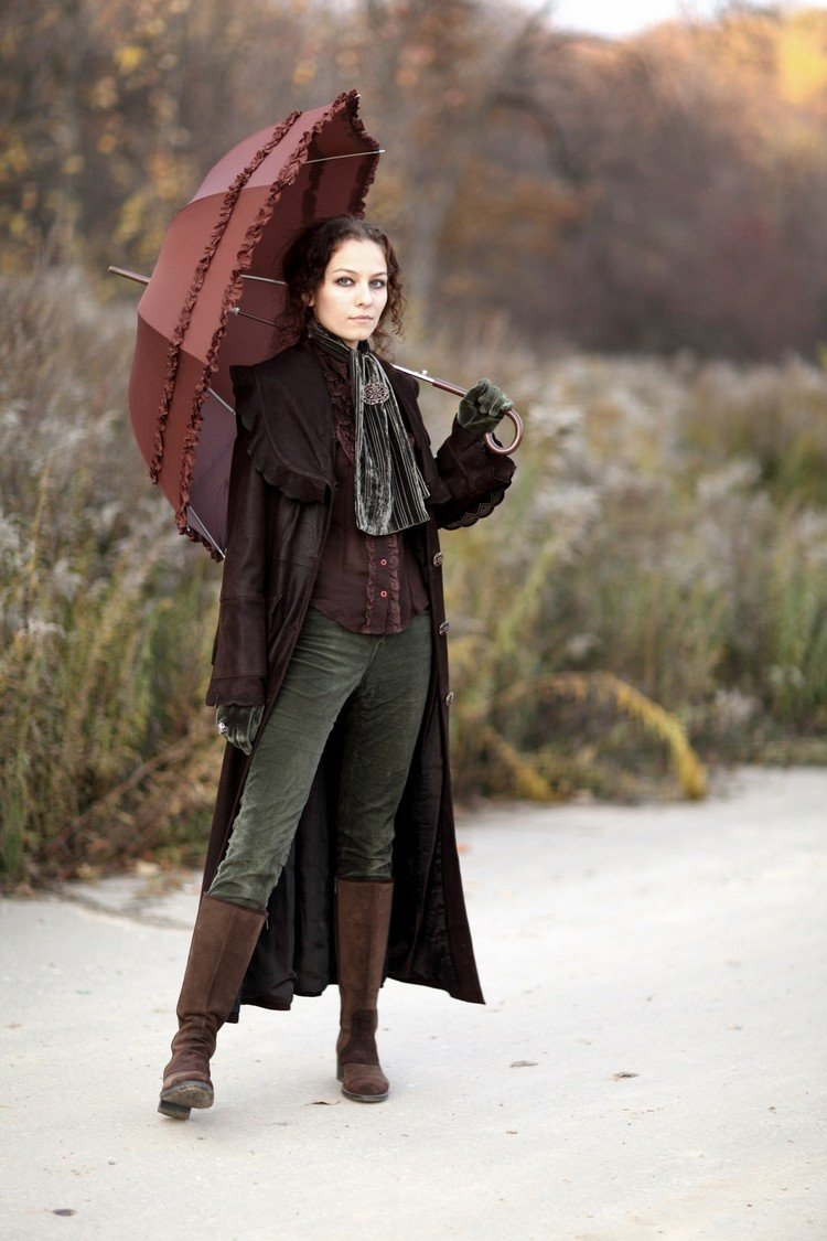 Steampunk Kleidung Frau Mantel Weste Schirm
